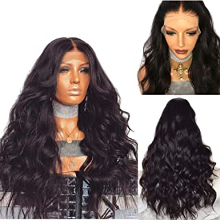 Brazilian Remy Human Hair Body Wave Lace Front Human Hair Wigs With Baby Hair Around Cap Middle Part Pre-Plucked Hairline,#2,20inches,130%