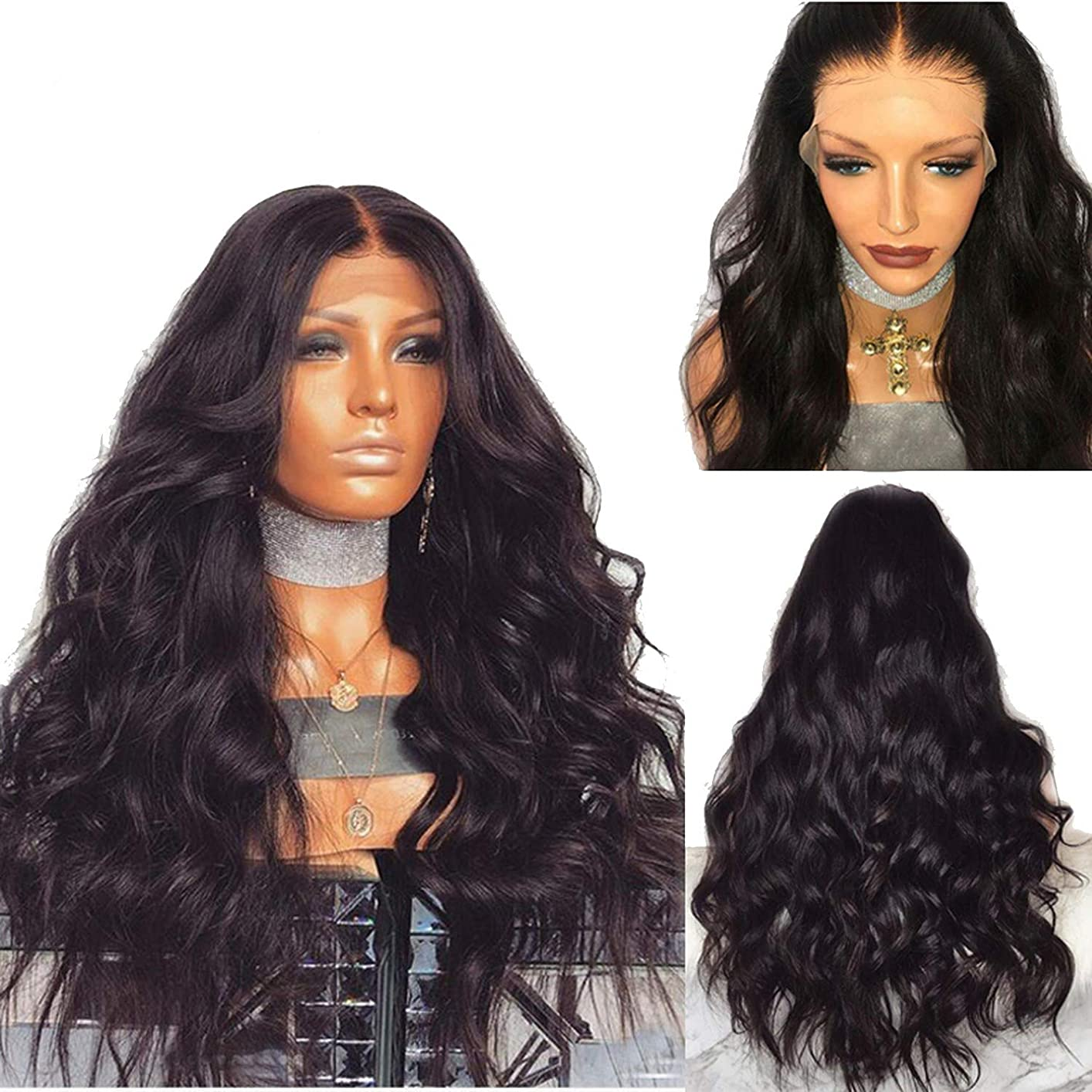 Brazilian Remy Human Hair Body Wave Lace Front Human Hair Wigs With Baby Hair Around Cap Middle Part Pre-Plucked Hairline,#1B,20inches,130%