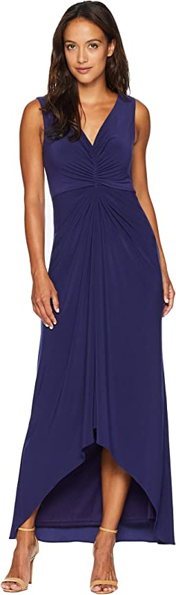 Petite High-Low Draped Front Jersey Gown