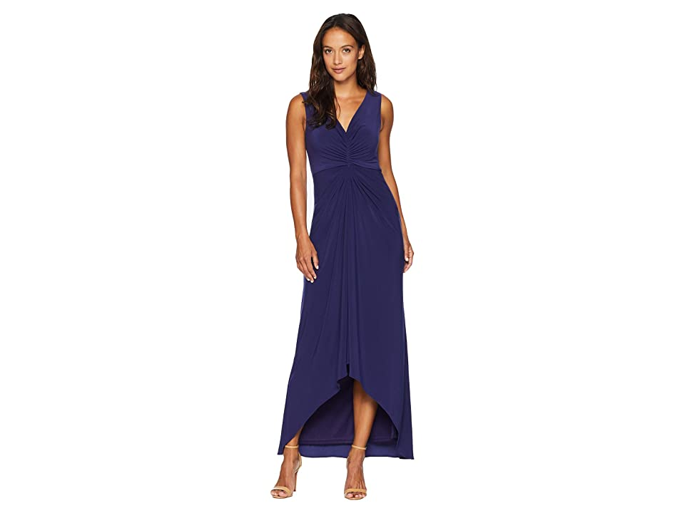 Adrianna Papell Petite High-Low Draped Front Jersey Gown (Admiral Blue) Women