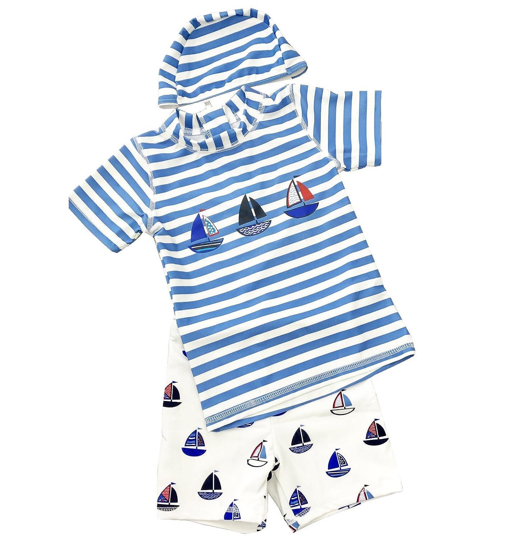 子供 男の子 水着 半袖 ハーフパンツ 3点セット キッズ ベビー 帽子セット ラッシュガード スイムウェア スイミング プールや海に スイムキャップセット ボーイ ヨット柄 ボーダー UPF 50+ UVカット 紫外線 90cm 100cm 110cm