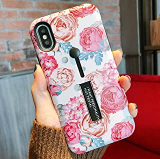 iPhone 7/8 Plus Case with Finger Grip,YTamazing 3D Embossed Flowers Design Rugged Shockproof Slim Fit Dual Layer Finger Ring Loop Strap Case with Finger Strap for Apple iPhone 7/8 Plus(Roses, 7+/8+)