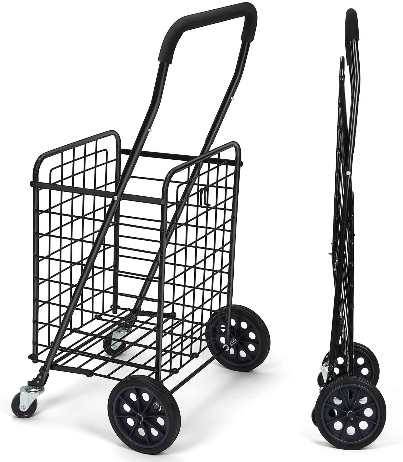 Pipishell Shopping Cart with Dual Swivel Wheels for Groceries -
