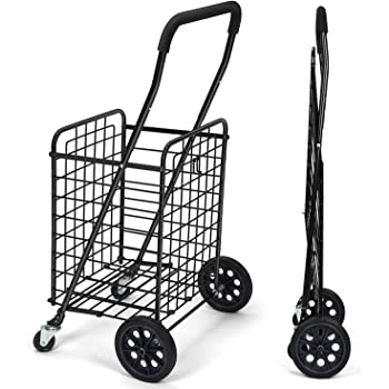 Jumbo Deluxe Folding Shopping Cart With Dual Swivel Wheels Lifestyle Solutions