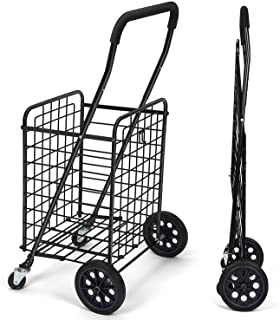Pipishell Shopping Cart with Dual Swivel Wheels for Groceries - Compact Folding Portable Cart Saves Space - with Adjustabl...