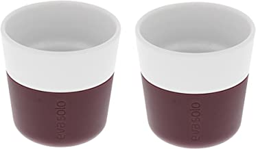Eva Solo - Coffee Tumblers porcelain with Silicon sleeve -- Set of 2 (Espresso, Dark Burgundy)