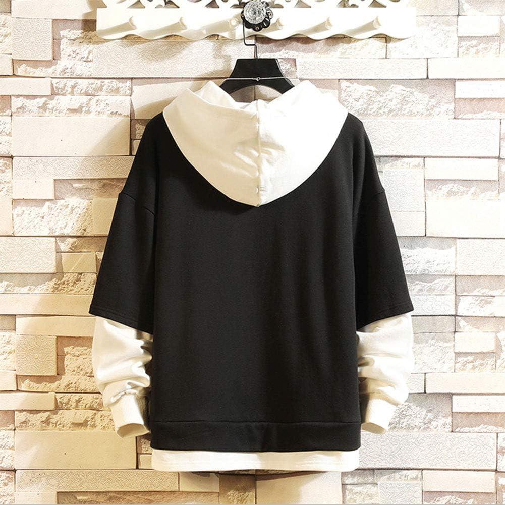 ZZAOO JoJo's Bizarre Adventure Anime Print Pullover,Loisirs en Coton Couleur De L'orthographe Sweatshirt De Printemps C-noir
