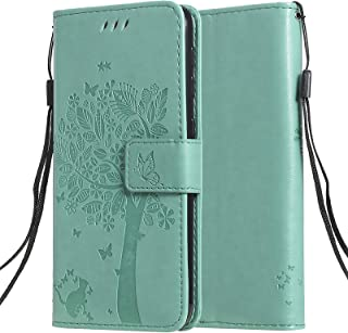 C-Super Mall Case for Xiaomi Mi 10T Lite 5G, Embossed Tree Cat Butterfly Pattern Stand Flip Magnetic Closure Card Slots Wa...