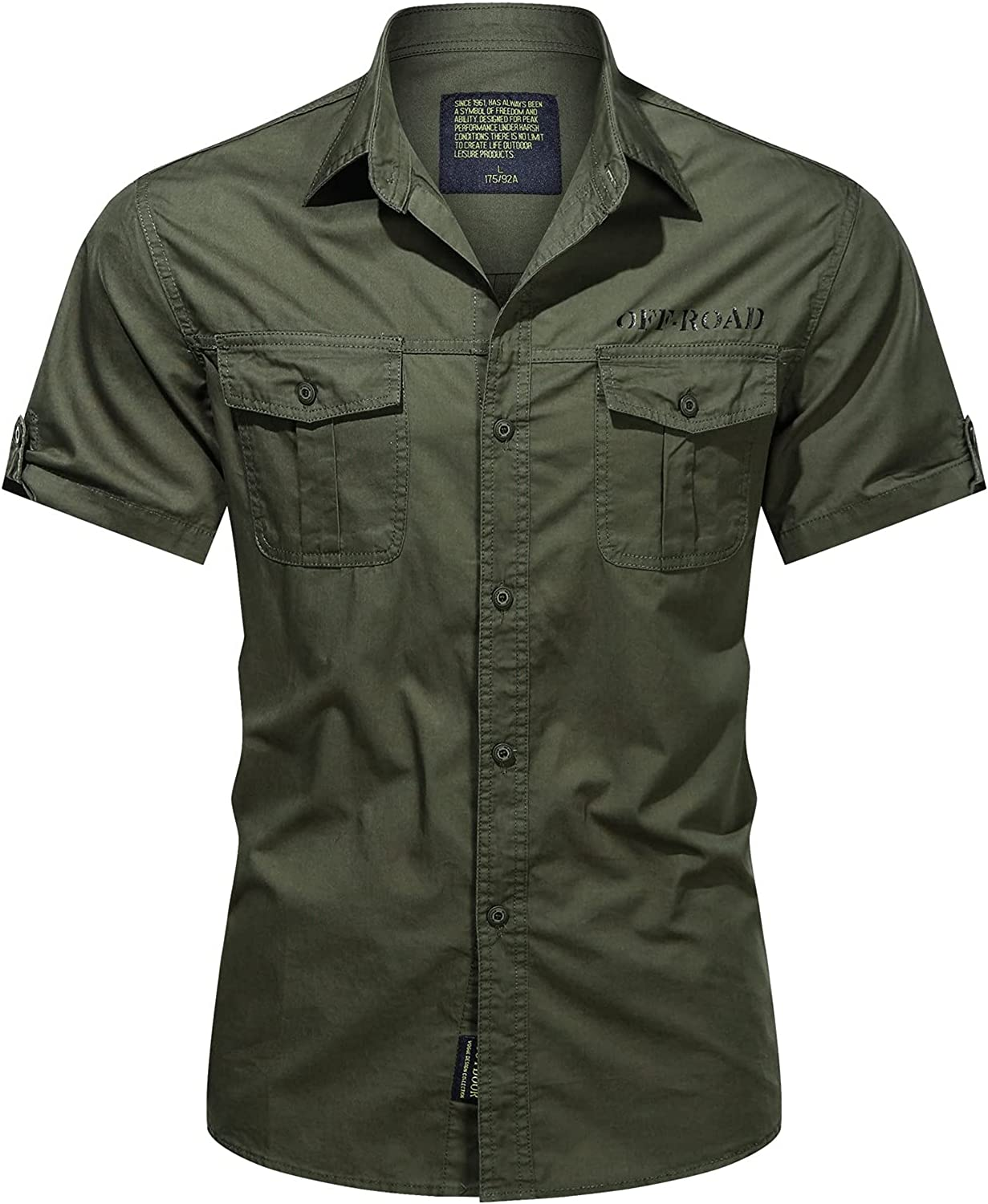 LIEIKIC Men's Military Style Button-Down Cargo Work Shirts Regular Fit Short Sleeve Breathable Workwear