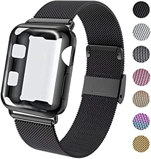 GBPOOT Compatible for Apple Watch Band 38mm 40mm 42mm 44mm with Screen Protector Case, Sports Wristband Strap Replacement Band with Protective Case for Iwatch Series 4/3/2/1,44mm,Black