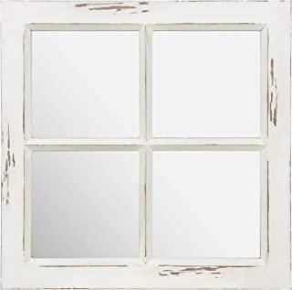 Everly Hart Collection Distressed White Rustic Framed Window Pane Wall Mounted Accent Mirror