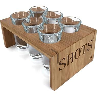 Trendy Bartender Shot Glass Set (6 Glasses) Bamboo Shot Glass Holder – 1 Oz Glasses – Glassware and Shot Stand – Professional Look – Pro or Amateur Bartenders – (Crystal Clear)