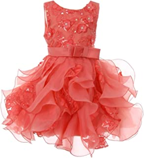 8a5f45e5f3d Cinderella Couture Baby Girls Coral Sequin Pearl Lace Tulle Ruffle Flower  Girl Dress 6-24M