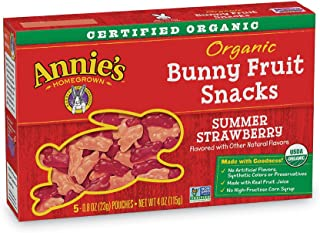 Annie's Organic Bunny Fruit Snacks, Summer Strawberry, 0.8 oz. Each (50 Pouches)