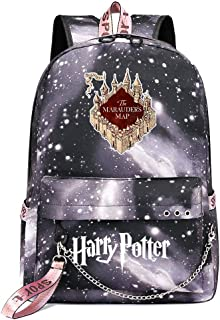 Mochila de Ocio para Estudiantes de Hogwarts, Mochila Harry Potter Grey Starry Sky, con Mochila de Interfaz de Carga USB Style-4