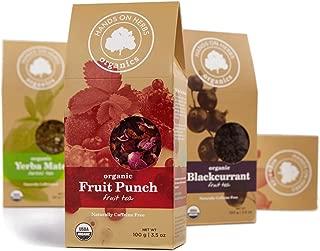 Hands on Herbs Organics Organic Fruit Punch loose Tea | The Ultimate Supreme Whole Fruit Tea | Potent Vitamin Boost Drink | Raspberry Based Antioxidant Boost Organic Tea 3.5 ounces | 100 grams