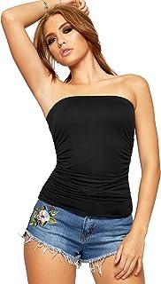 fdccea9678aee WearAll - Uni Bustier Bandeau Top ruché sans Bretelles Haut - Tailles 36 à  42