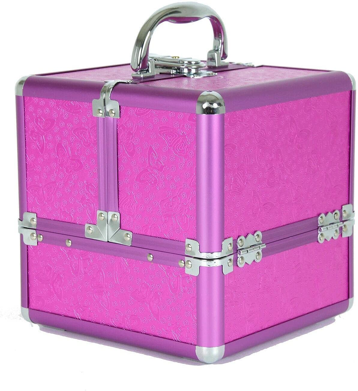Aluminum Makeup New product type Train Case with Pink Cosmet and Organizer Beauty products Purple