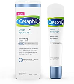 CETAPHIL Deep Hydration Refreshing Eye Serum | 0.5 fl oz |48 Hour Hydrating Under Eye Cream For Dark Circles and Puffiness | With Hyaluronic Acid, Vitamin E & Vitamin B5 | Dermatologist Recommended