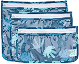 Bumkins TSA Approved Toiletry Bag, Travel Bag, PVC-Free, Vinyl-Free, Clear Front, Set of 3 - Blue Tropics
