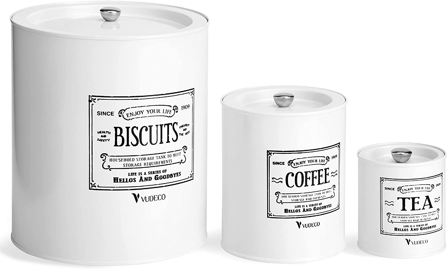 VUDECO Kitchen Canisters Set of 3 Farmhouse Kitchen Decor Vintage Metal Bins Rustic Kitchen Decor for Counter White Canisters Sets for the Kitchen Counter Decor Biscuit Coffee Tea Sugar Canister Set