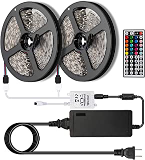 SUPERNIGHT LED Strip Lights,TWO 16.4Ft LED Light Strip Kit Non-Waterproof DC12V 3528 RGB【NO White Color】300leds Flexible Strip Lights with Double PCB 44Key Remote,Stronger Adhesive Tape and 5A Adapter