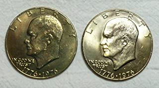 1976 P&D Eisenhower (Ike) Dollars - Type 1 - Set of 2 - Brilliant Uncirculated - Original Cello (right from the Mint) Dual Dated 1776-1976 $1 BU US Mint