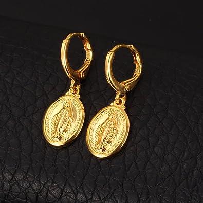 U7 Pendientes con Colgante de Santa María Medalla Milagrosa de Material Cobre Regalo de Mujer Aros Redondos