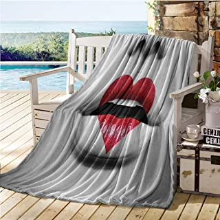 Jecycleus Red and Black, Throw Blanket, Fashion Model Vivid Woman Lips in Love Symbol Heart Photo Image, Digital Printing Blanket 60x36 Inch White and Light Grey