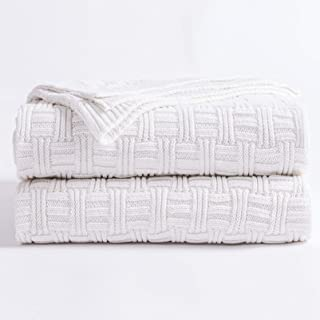 Longhui bedding White Cotton Cable Knit Throw Blanket for Couch Chair Sofa,Soft Cozy Home Decorative Blankets for All Seasons, 50 x 60 Inch Gift a Washing Bag,2.2 pounds Silk Bow Tie Package
