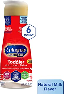 Enfagrow NeuroPro Next Step Toddler Ready to Feed Non-GMO Milk Drink - Natural Milk Flavor, 32 fl oz (6 count) - Omega 3 DHA, MFGM, Prebiotics, Iron, Vitamins (Packaging May Vary)