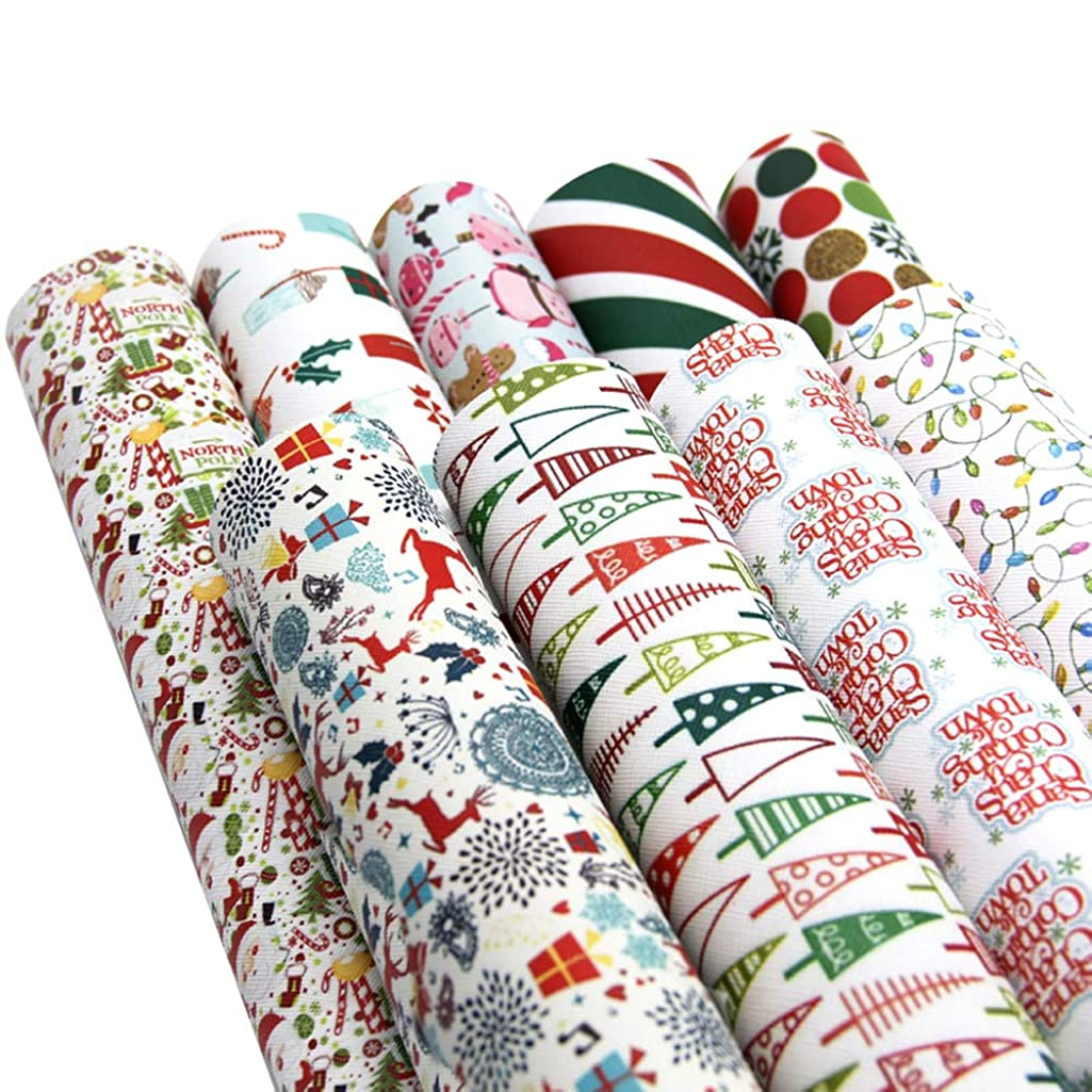 David accessories Christmas Snow Printed Leather Sheets Fabric Canvas Back 9Pcs 8