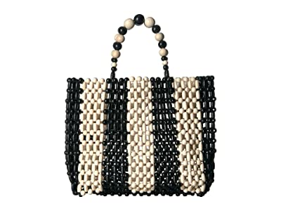 Alice + Olivia Zoey Wooden Beaded Bag (Black/White) Handbags