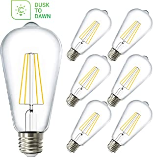 Sunco Lighting 6 Pack ST64 LED Bulb, Dusk-to-Dawn, 7W=60W, 2700K Soft White, Vintage Edison Filament Bulb, 800 LM, E26 Base, Outdoor Decorative String Light - UL, Energy Star