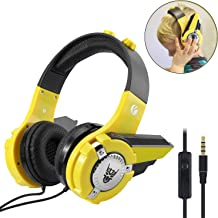 VCOM Wired Kids Headphones for Boys - Over Ear Stereo Headsets with Volume Limited & Mic, Robot Design for Toddler Children, 3.5mm Jack Compatible for Laptops iPad Kindle Smartphones Tablets(Yellow)