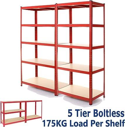 dicn 180x90x40cm  Red Tier Shelving Rack 2-Unit  175kg Capacity Per Shelf  Boltless Freestanding Shelves for Garage Home Storage Shed Warehouse