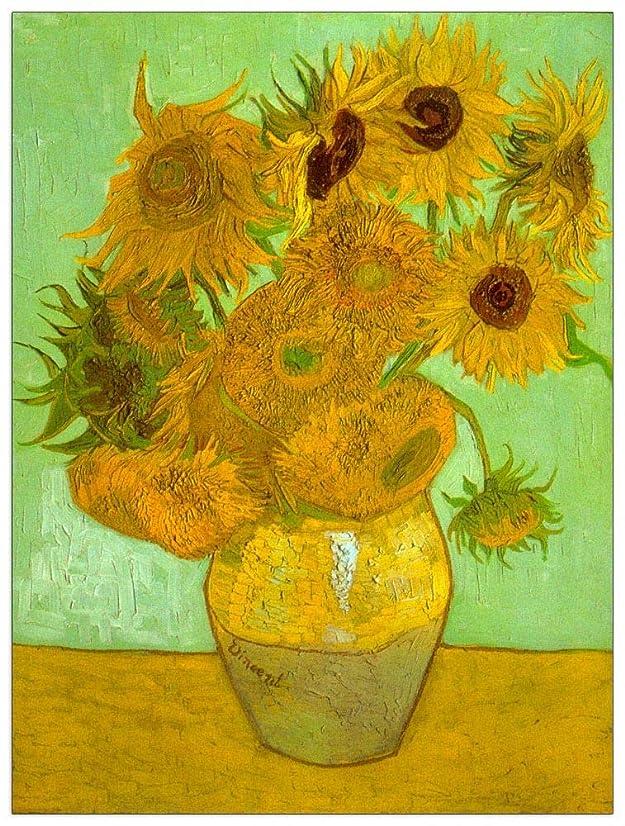 ArtPlaza TW90955 Van Gogh Vincent - Twelve Sunflowers Decorative Panel 39.5x51 Inch Multicolored