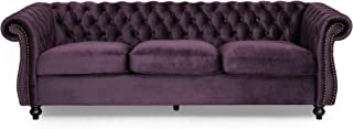 Vita Chesterfield Tufted Jewel Toned Velvet Sofa with Scroll Arms, BlackBerry