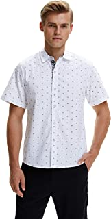 SSLR Men`s Printed Regular-Fit 100% Cotton Short Sleeve Casual Shirts