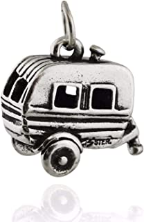 Travel Trailer Charm - 925 Sterling Silver - 3D Camping Camper RV Woods - Jewelry Accessories Key Chain Bracelets Crafting Bracelet Necklace Pendants