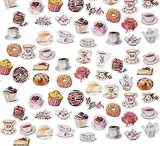 moin moin シール フレークシール   ドーナツ 紅茶 ティー 珈琲 ケーキ 薔薇 ローズ 花   午後のティータイム 92枚セット 2007sl32