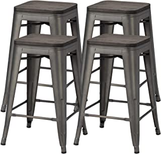 Yaheetech 24 inches Metal Bar Stools Counter Stool Indoor/Outdoor Stackable Barstools Counter Wood Top/Seat Bar Stools Set...