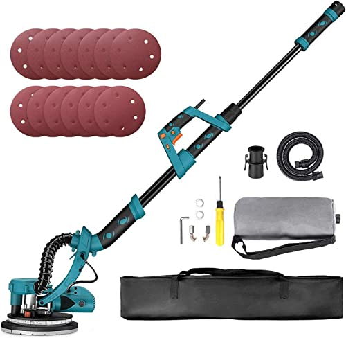 discount Drywall Sander 800W with Vacuum Attachment, 500-1800RPM Electric Wall Sander, Telescopic Handle and LED Lights, High Dust Extraction lowest and 13 Sanding Discs, 2021 6.56Ft Dust Hose and 14.8Ft Cable-TKLF sale