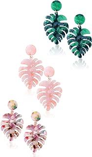 3 Pairs Palm Leaf Acrylic Earrings for Women Drop Dangle Statement Earrings Bohemian Resin Jewelry