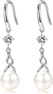 Sllaiss Sterling Silver Pearl Dangle Earring with Cubic Zirconia Genuine Freshwater Cultured Pearl Drop Earrings for Women