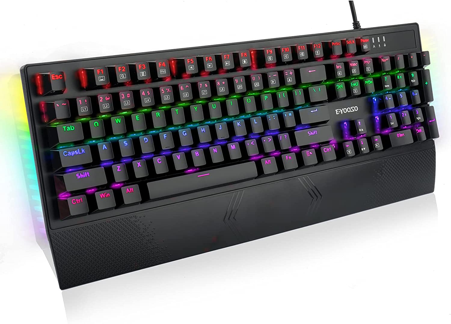 Mechanical Keyboard, E-YOOSO Mechanical Gaming Keyboard 104 Keys Keyboard Gaming, Wired Keyboard Mechanical with Rainbow Backlit & RGB LED Side Light, Keyboard with Blue Switches for Windows Gaming PC