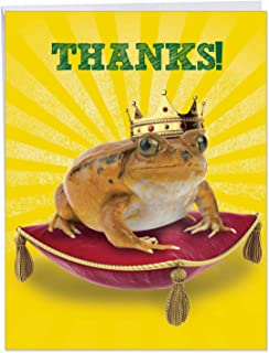 XL 'Frog Prince' Thank You Card with Envelope 8.5 x 11 Inch - Funny Animal Appreciation Stationery for All Occasions, Large Greeting Card for Weddings, Birthdays, Mother's Day J8176