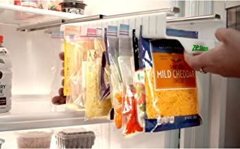 Zip n Store - Organize Your Refrigerator - Full-Size Easy Store Organizer - Organizes 20 Bags, Perfect For Leftovers, Easy To See + Access Food, Quick Access Slide Track, Installs In 2 Minutes