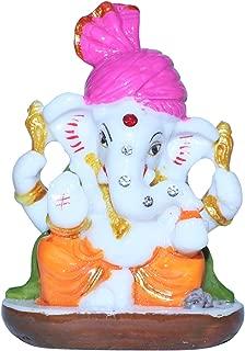 Unique Creation Small Ganesha Statue/Mini Lord Ganesh/Ganpati Polyresin Idol with Pagadi - Design 4 (Assorted Multicolor)