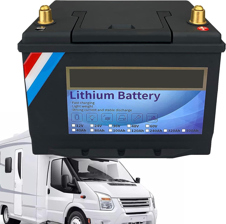 LiFePO4 Batería de Hierro de Litio de Ciclo Profundo 12V 40Ah, Sistema Inteligente BMS Incorporado, RV, Solar, Marino, Almacenamiento en el hogar y Fuera de la Red,12V40Ah